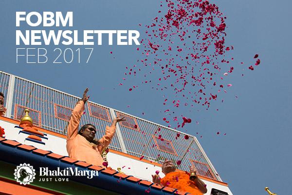 Paramahamsa Vishwananda raising petals to the air from a balcony